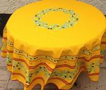 Olives Blossom Tablecloth Round 180cm Yellow